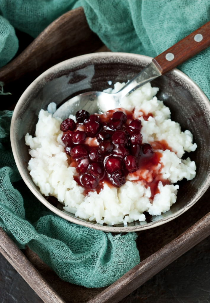 Cherry rice coconut pudding in a bowl ready to eat